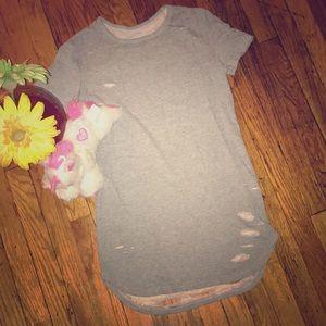Distressed T-shirt dress/tunic